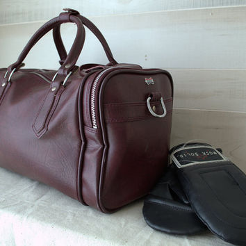 American Tourister Luggage, Retro Gym Bag, 1980s Boarding Bag, Vintage Duffle Bag, Burgundy Weekend Bag