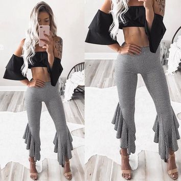 Asymmetric Frill Hem Ruffle Trousers Womens Bell Bottom Flare Pants Plus Size Plaid High Waist Slim Pants