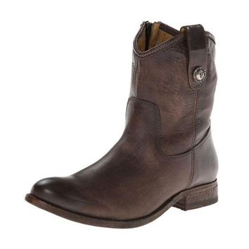 DCCKAB3 Frye Slate Melissa Button Short Leather Boots