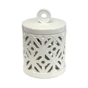 Decorative Ceramic Canister With Ring Handle, White