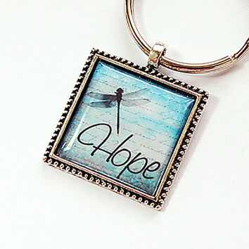 Key ring, Keychain, keyring, Key chain, dragonfly key ring, stocking stuffer, Dragonfly, Hope, Hope key chain, Hope key ring, blue (4388)