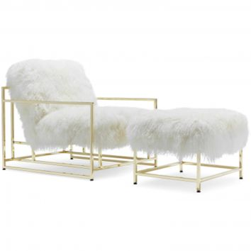 WHITE SHEEPSKIN AND BRASS INHERITENANCE ARMCHAIR + OTTOMAN