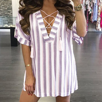 Multicolor Plunge Neckline Lace Up Half Folded Sleeve Mini Tassel Dress