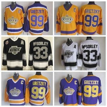 Throwback Los Angeles Kings Wayne Gretzky Jersey #99 Vintage 1983-1993 Stanley Cup 100th CCM Wayne Gretzky Hockey Jersey Stitched C Patch