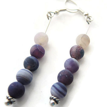 purple agate earrings, handmade dangle beadwork gemstone semi precious earrings of sterling silver and iced agate, 925 silver earhooks