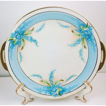 Royal Rudolstadt Hand Painted Porcelain Cake Plate, Beyer and Bock, Volkstedt Prussia, circa 1905