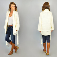 CARDIGAN WRAP vtg 70s/80s preppy boho 100% acrylic oversized belted SWEATER, medium-extra large
