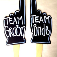 TEAM Bride Team Groom photo props With Writing Already On It or Ready to Write customizable weddings Decor