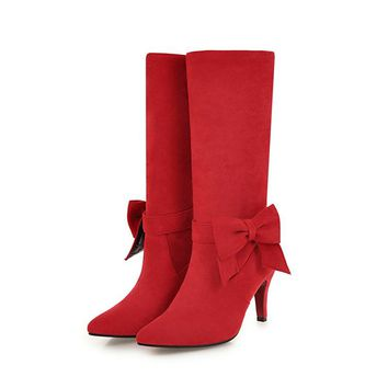 2018 Plus Size Women Boots Winter Butterfly Knot Snow Boots Female Fetish 8cm Suede Flock Red Yellow Heels Mid Calf Plush Shoes