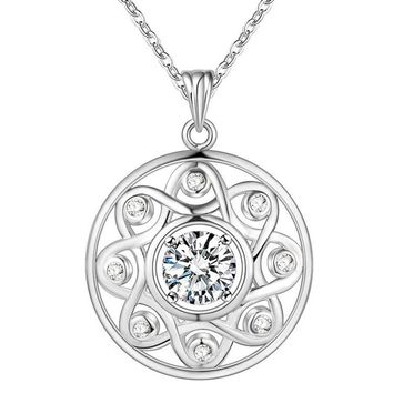 ON SALE - Shining All Around CZ Sterling Silver Necklace