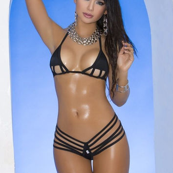 Elegant Moments 82065 Extreme Strappy Black Micro Triangle Top and G-String Thong Bikini