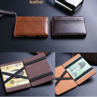 Mens Leather Card Holder with Reversible Money Clip