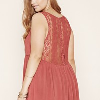 Plus Size Lace-Back Top