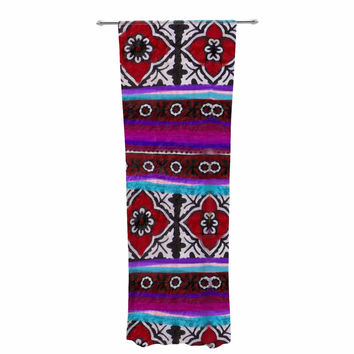"S Seema Z ""SINDHI AJRAK"" Purple Pattern Decorative Sheer Curtain"