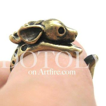 Spotted Reindeer Caribou Deer Animal Wrap Around Ring in Brass | US Size 4 - 9