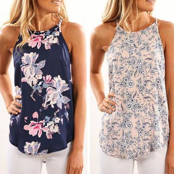Women Blouses  Casual Elegant Floral Blouse Slim Sleeveless Work Wear Tops Shirts