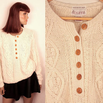 vintage chunky cable knit sweater // button down