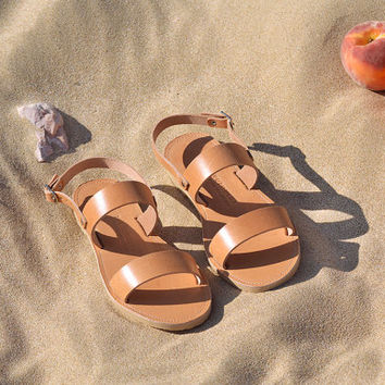 KYTHIRA, Sandals, Leather sandals, Greek sandals with two straps, Women's shoes