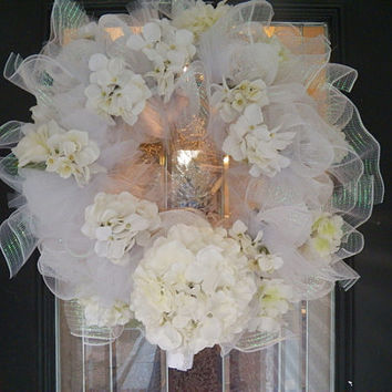 White Deco Mesh Wedding Wreath, Bridal Shower Wreath, Decoration, Door Hanger Ready to ship