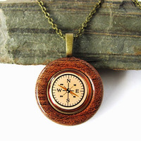 Compass Necklace Button Pendant Mesquite Wood by Hendywood