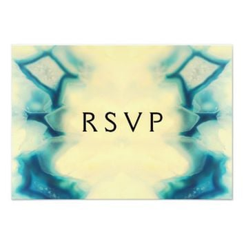 Girly Aqua Blue Gemstone Sweet 16 Party RSVP 3.5x5 Paper Invitation Card