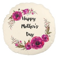 Pink Poppies Floral Wreath Best Mom in the World Round Pillow