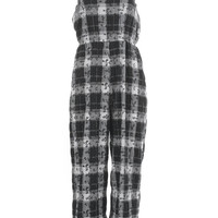 Plaid Vintage Jumpsuit Black and White Seersucker Wide Leg Romper Women's Size Sm-Med / Elastic Waist Loose Fitting Summer 80s 1990s Grunge