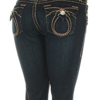 LA Idol Women Bootcut Jeans Crystal Buttons Brown Loop Bold Stitch