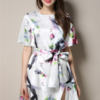White Short Sleeve Floral Bow Belted Asymmetrical Mini Dress
