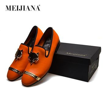 Meijiana Brand Men's Business Shoes Fox Metal Buckle Luxury Leather Loafers