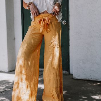 Go With The Flow Tie Waist Pants - Mustard