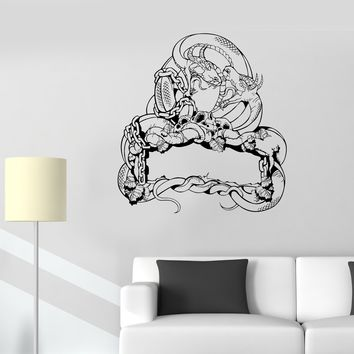Wall Decal Two Dragon Skull Snake Fighting Fantasy Lizard Vinyl Sticker Unique Gift (ed573)