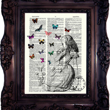 Alice in Wonderland Art Print on Book Page. Alice in Wonderland Decoration. Alice in wonderland Decor. Alice in Wonderland Print. C:534