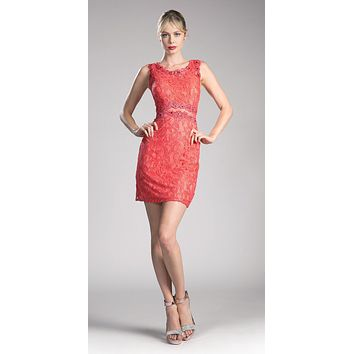 Short Sleeveless Mock Two-Piece Lace Dress Coral