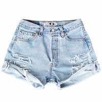 High Waisted Distressed Vintage Denim Shorts