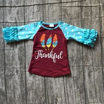 Fall thanksgiving thankful blue burgandy wine cotton top half ruffle icing sleeve t-shirt baby girls raglans boutique feather