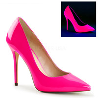 "Amuse 20 Neon Pink  Pointy Toe Single sole Pump 5"" Heel"