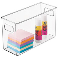 mDesign Office Supplies Desk Organizer Bin for Pens, Pencils, Markers, Highlighters, Tape - Medium, Clear