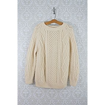 Vintage Hand Knit  Cableknit Aran Sweater