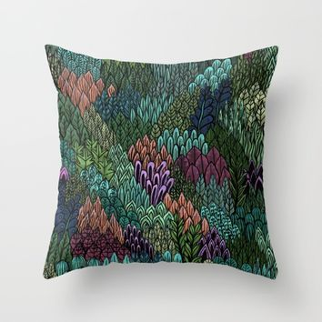 July Leaves Throw Pillow by Samantha Dolan