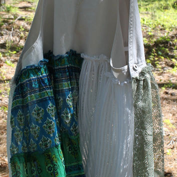 Shabby Chic Overalls Blouse, Tattered Lace, Boho, Cottage Country Chic, Asymmetrical, Vintage, Jumper, Eco Earth Friendly, Upcycled Clothing