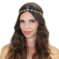 Dainty Floral Crystal Chain Headpiece Bridal Hair  Accessories Headband Tiara