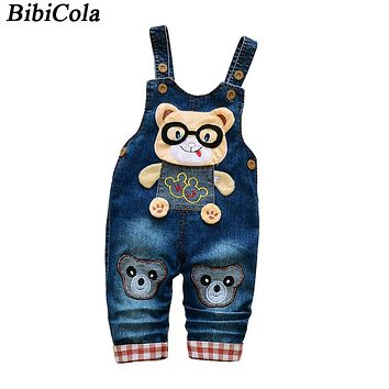 Baby Pants Spring Autumn Kids Boys Girls Overalls Pants Children Boys Jeans Bib Pants Cartoon Denim Jumpsuit Trousers