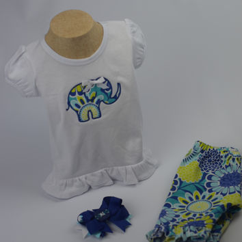 Elephant Outfit by Mandy Lou {White/Blue/Green}