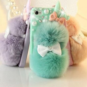ESBIX3 # 1 Best Seller Chic Rabbit Fur Multicolor Bunny Case For Teen Girls,Rhinestone Hard Case Cover For iPhone 6 6 plus iPhone 5C 5S 4S Galaxy S4 S3 note 3 note 4 = 1932244932