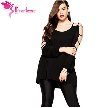 Dear Lover Plus Size Clothes Big 4XL Women's Blouse Large Cut out Swing Arm Top Autumn Long Sleeve Loose Black Shirts  LC25757