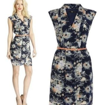 PEAPIX3 Summer Women's Fashion Blazer Sleeveless Floral Print Skirt Waistband One Piece Dress [4918979588]