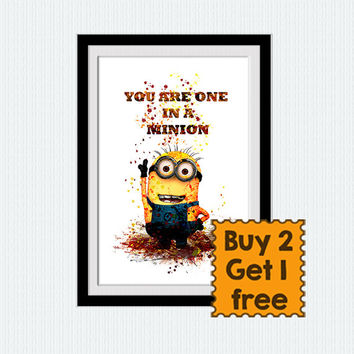 Minions watercolor print Despicable me poster Minion colorful poster Minion print Home decoration Kids room decor Nursery room art  W225