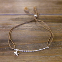 New Minimal Modern Friendship Skinny Thin 100% Silk Thread Cord 925 Genuine Sterling Silver Beads Chain Star Bracelet Tassel Brown Gift (Anthropologie)