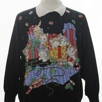 1980's Nut Cracker Unisex Cat-Tastic Vintage Ugly Christmas Sweatshirt